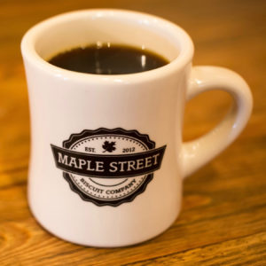 Maple Street Biscuit Company coffee mug with logo in black