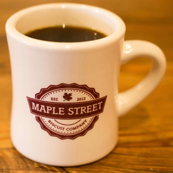 Maple Street Biscuit Company coffee mug with logo in red
