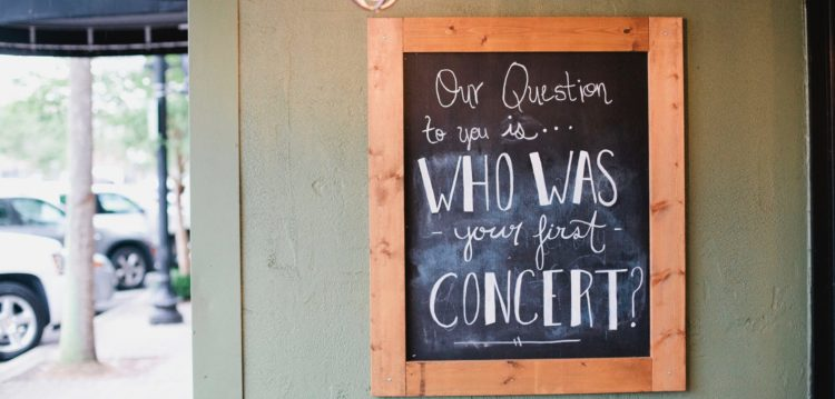 Chalkboard with question of the month at the Maple Street Biscuit Company's San Marco store