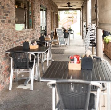 Exterior photo of outdoor dining patio at Jacksonville Beach store