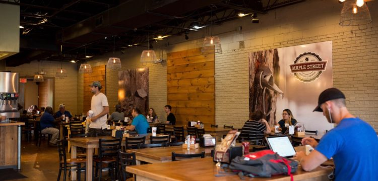 Interior photo of dining room at Maple Street Biscuit's Jacksonville Beach store