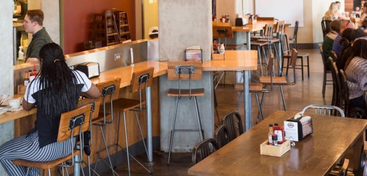 Interior photo of dining room at Maple Street Biscuit's FSU store
