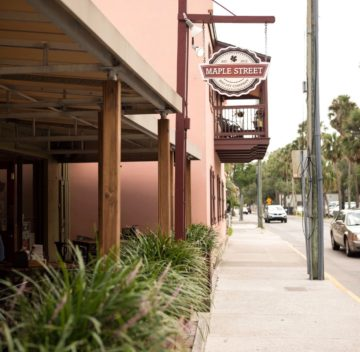Sidewalk view of Maple Street Biscuit Company's St. Augustine store
