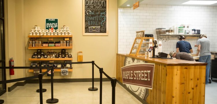 Front service counter of Maple Street Biscuit Company's Five Forks Simpsonville store