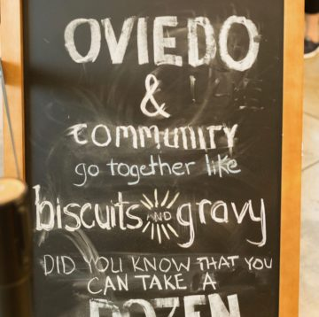 chalkboard at Maple Street Biscuit Company's Oviedo store