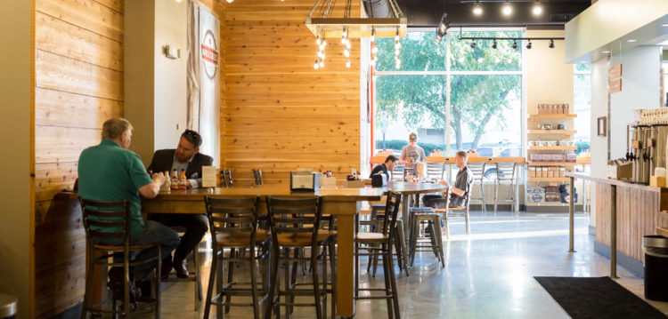 Interior view of Downtown Greenville location looking towards windows