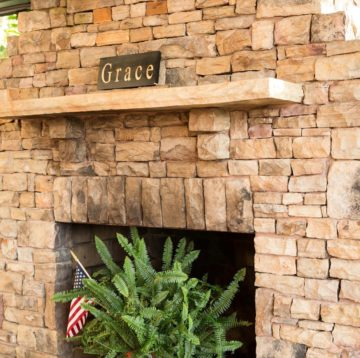 Outdoor fireplace at Maple Street Biscuit Company's Woodstock store