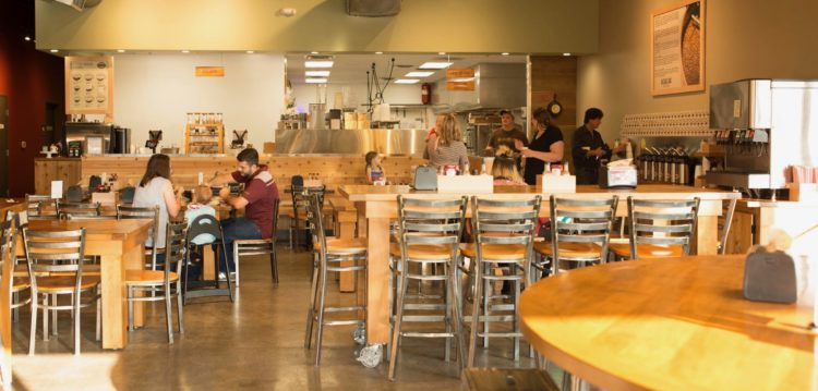 view of dining room at Maple Street Biscuit Company's Woodstock store
