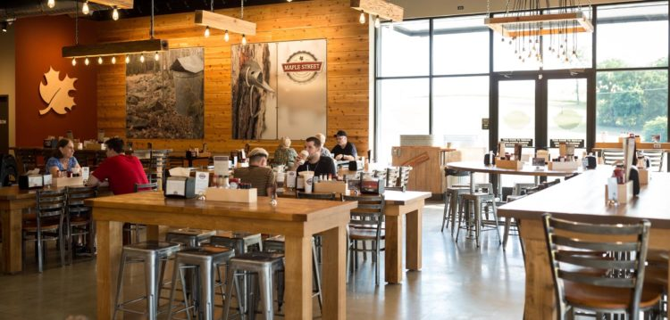 Interior photo of dining room at Maple Street Biscuit's Hardin Valley store