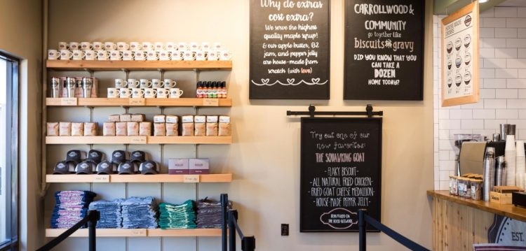Chalkboards at Maple Street Biscuit Company's Carrollwood store