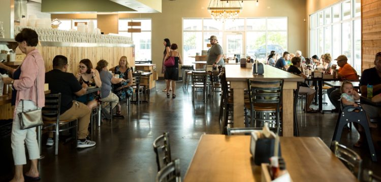 Interior view of dining room at Maple Street Biscuit Company's Seminole store