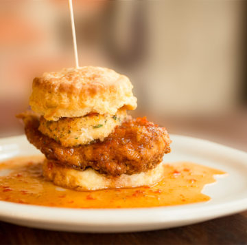 Maple Street's Squawking Goat biscuit sandwich