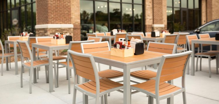 Patio dining area at Maple Street Biscuit Company's Concord store