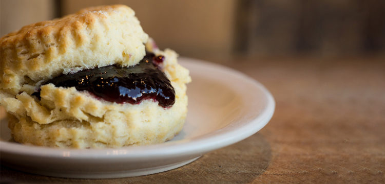 Biscuit with Jam on a plate