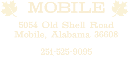 Maple Street Biscuit Company's Mobile Alabama store address and phone number; 5054 Old Shell Road, Mobile Alabama, phone number is 251-525-9095